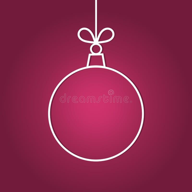 Het ornament van de Kerstmisbal, lijnvorm op purpere achtergrond stock illustratie