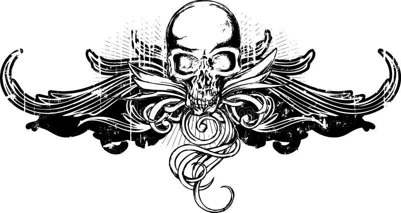 Het Ornament van de Schedel van Grunge vector illustratie