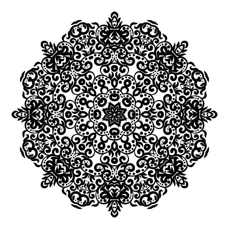Het ornament van het cirkelkant, rond sier geometrisch doily patroon, zwart-witte geïsoleerde mandala royalty-vrije illustratie