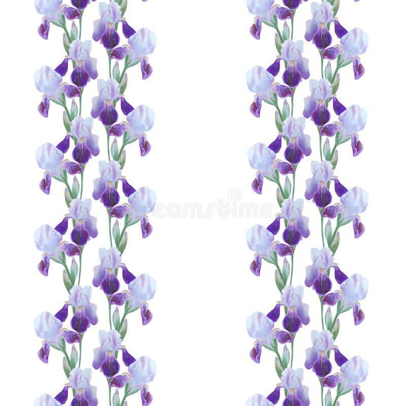 Het ornament van irisbloemen op wit wordt geïsoleerd dat Mooi modern naadloos patroon royalty-vrije stock afbeelding