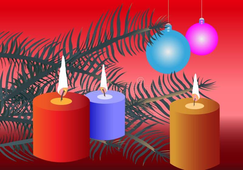 Het ornament van Kerstmis met kegeltakken en kaars l stock fotografie
