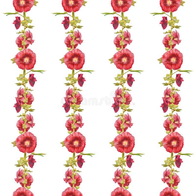Het ornament van malvebloemen op wit wordt geïsoleerd dat stock illustratie