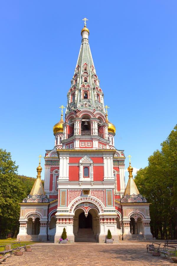 Het orthodoxe Gedenkteken van de kerkgeboorte van christus in Shipka, Bulgarije royalty-vrije stock afbeelding