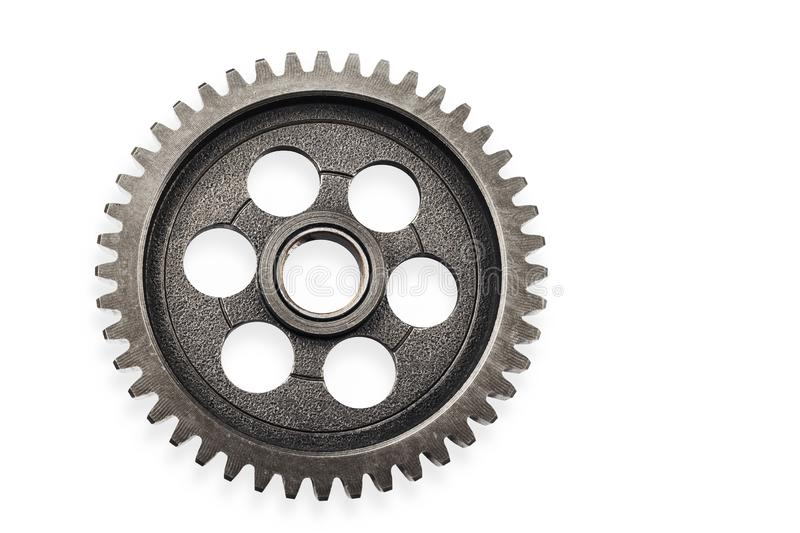 Het oud wiel van het metaaltoestel of pignondeel, de verminderingsverhouding van het Motorfietstoestel gedreven die toestel op wi stock afbeeldingen