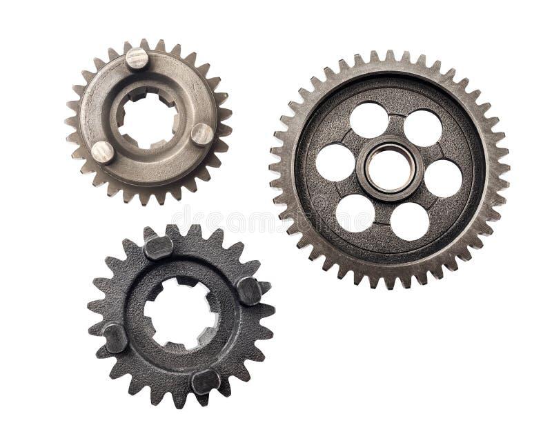 Het oud wiel van het metaaltoestel of pignondeel, de verminderingsverhouding van het Motorfietstoestel gedreven die toestel op wi royalty-vrije stock afbeeldingen