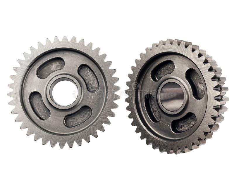 Het oud wiel van het metaaltoestel of pignondeel, de verminderingsverhouding van het Motorfietstoestel gedreven die toestel op wi royalty-vrije stock afbeelding