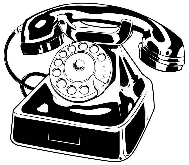 Het oude Art. van de Telefoonlijn stock illustratie