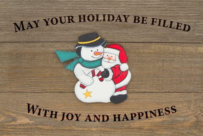 Het oude bericht van manierkerstmis met sneeuwman en santa stock fotografie