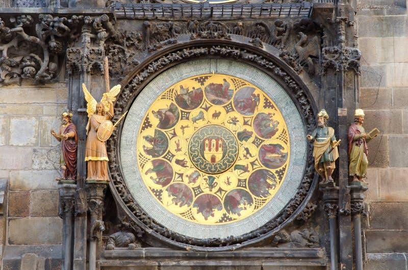 Het oude Beroemde Astronomische Detail van de Klok, Praag stock afbeeldingen