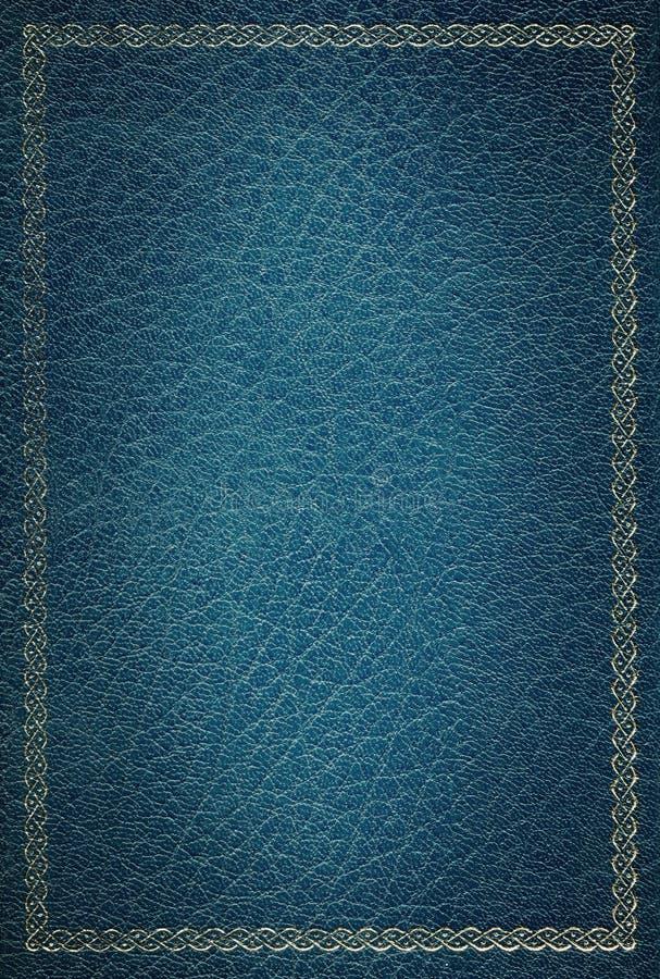 Het oude blauwe gouden frame van de leertextuur stock afbeeldingen