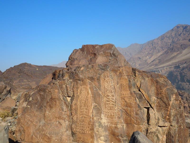 Het oude Boeddhistische Rots Snijden dichtbij Chilas, Pakistan royalty-vrije stock foto