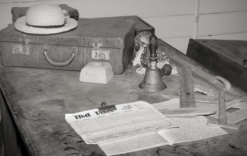 Het oude bureau van schoolleraren   stock foto