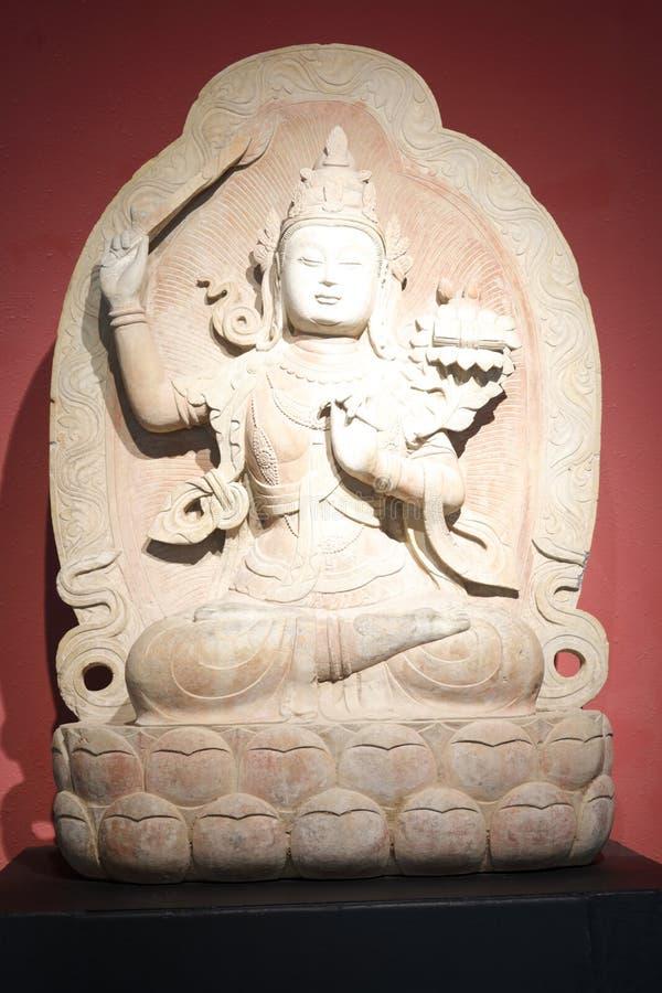 Het oude Chinese standbeeld van de het beenzitting van Boedha dwars, rgb adobe royalty-vrije stock afbeeldingen