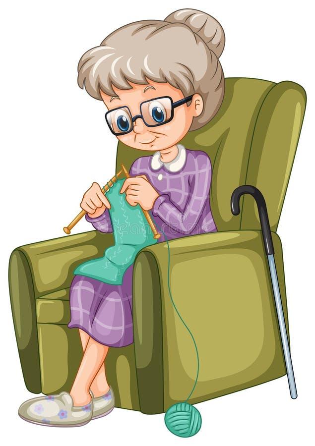 Het oude dame breien op de stoel stock illustratie