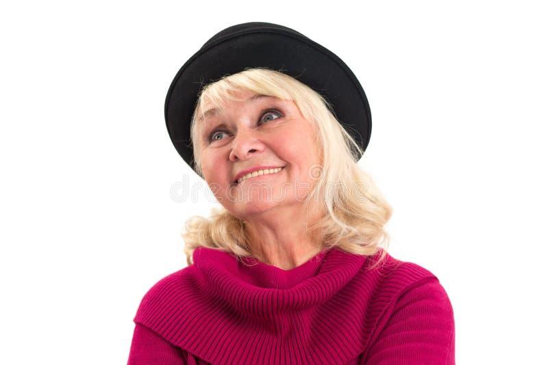 Het oude dame geïsoleerd glimlachen stock foto