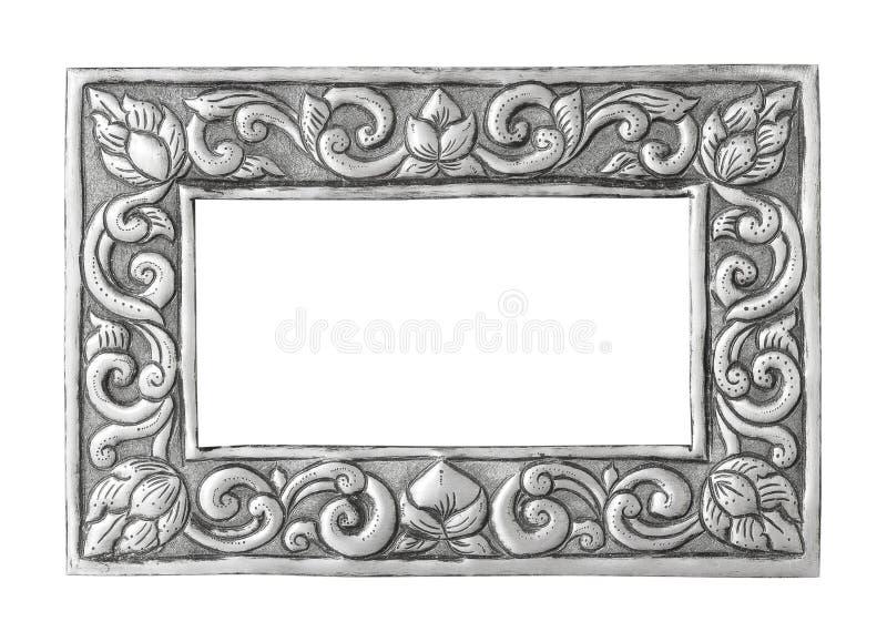 Het oude decoratieve zilveren met de hand gemaakte kader -, gegraveerd die - op witte achtergrond wordt ge?soleerd royalty-vrije stock afbeelding
