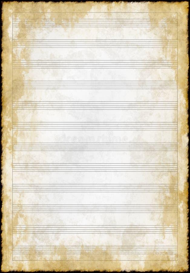 Het oude document van de grunge lege muziek stock illustratie