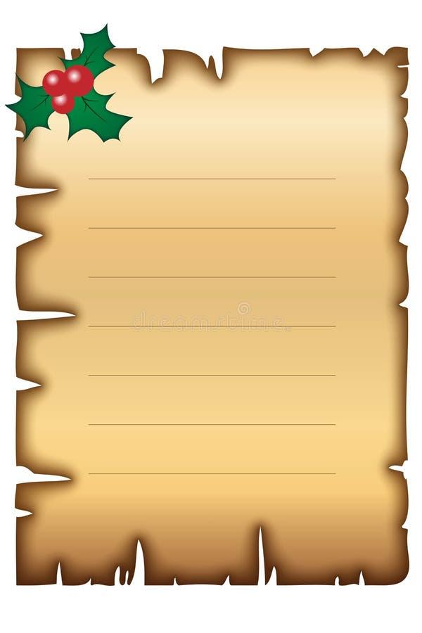 Het oude document van Kerstmis royalty-vrije illustratie