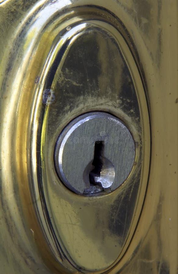 Het oude Doorstane Slot van de Deur van het Messing royalty-vrije stock fotografie