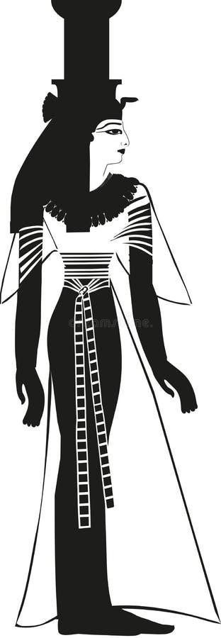 Het oude Egyptische Silhouet van Godinnephthys royalty-vrije stock afbeelding