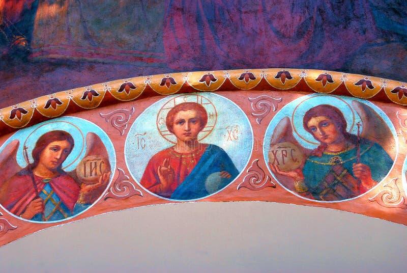 Het oude godsdienstige schilderen Drievuldigheid Sergius Lavra, Rusland Unesco-Wereld Herit royalty-vrije stock foto's