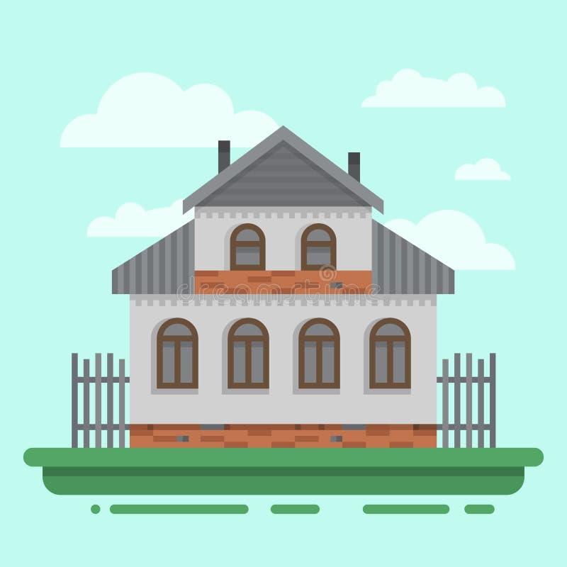 Het oude grijze huis van het land met omheining vector illustratie