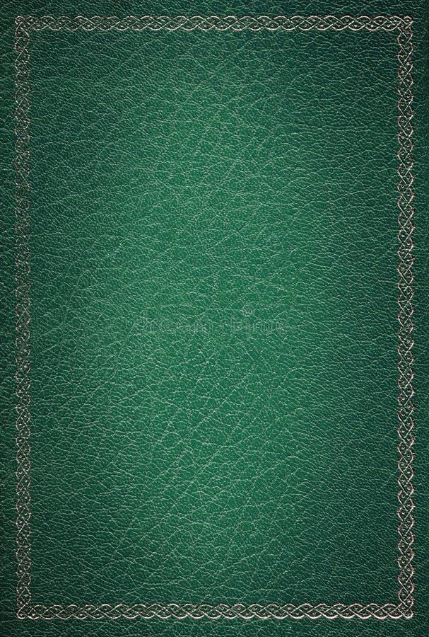 Het oude groene gouden frame van de leertextuur stock afbeeldingen