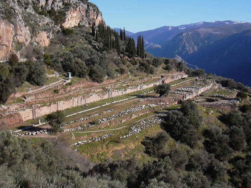 Het oude heiligdom Phocis Griekenland van Delphi stock foto's