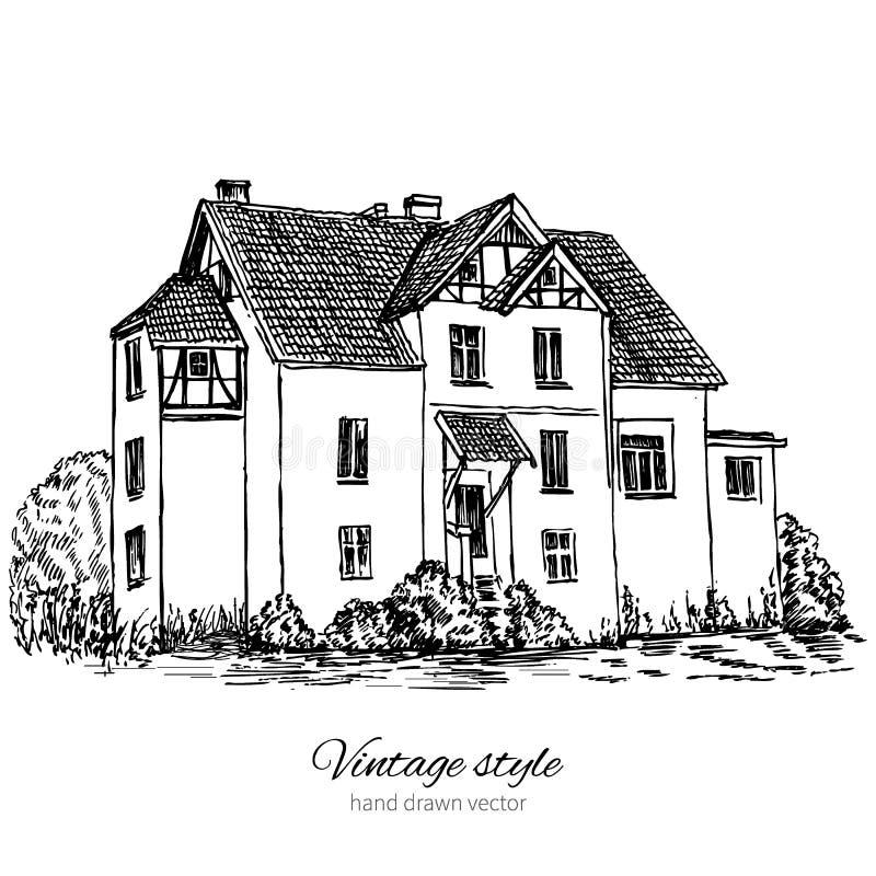 Het oude herenhuis onder boom, hand getrokken zwarte schets, inktvector graveerde illustratie die op witte achtergrond, Europa wo vector illustratie