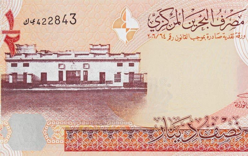 Het oude Hof van Bahrein in Manama op banknot van de dinar 2006 van Bahrein halve stock fotografie