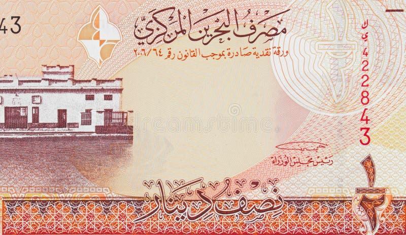 Het oude Hof van Bahrein in Manama op banknot van de dinar 2006 van Bahrein halve stock afbeelding