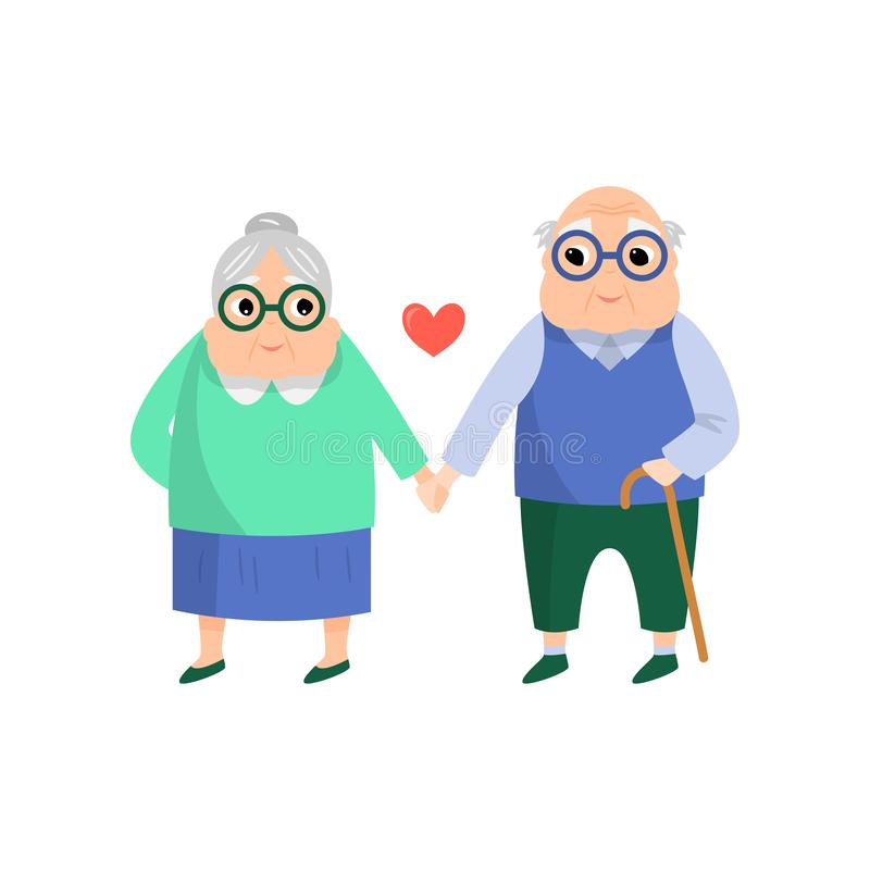 Het oude hogere mooie paar, de vrouw en de man nemen hand stock illustratie