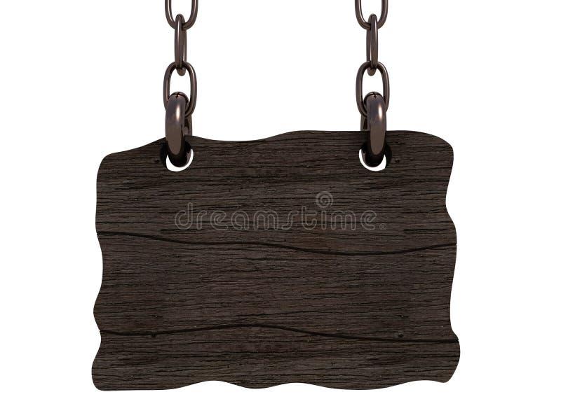 Het oude houten raad hangen op kettingen vector illustratie