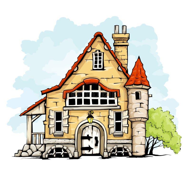 Het oude huis van Fairytale in retro stijl royalty-vrije illustratie