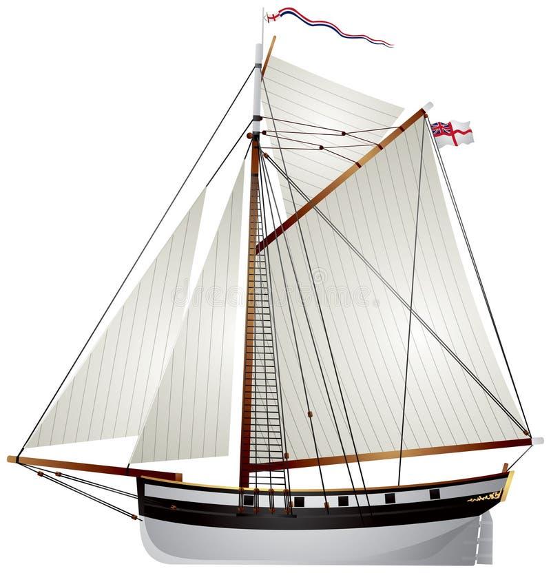 Het oude jacht van de zeilboot royalty-vrije illustratie