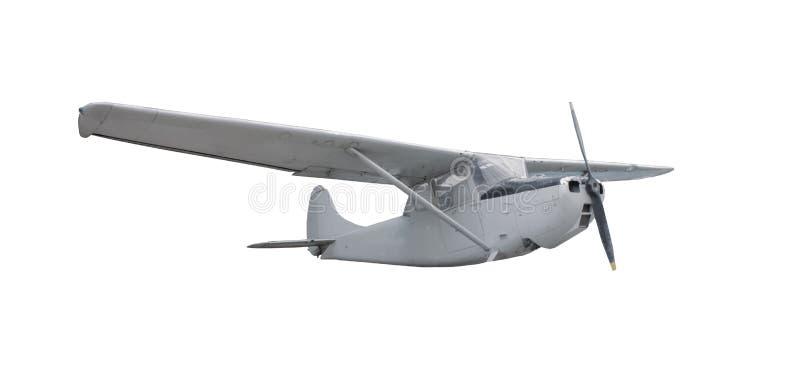 Het oude klassieke vliegtuig isoleerde witte achtergrond stock foto's
