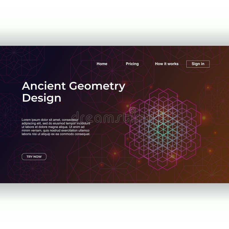 Het oude malplaatje van de meetkunde landende pagina met geometrische achtergrond van gradiënt de kleurrijke abstracte mandala stock illustratie