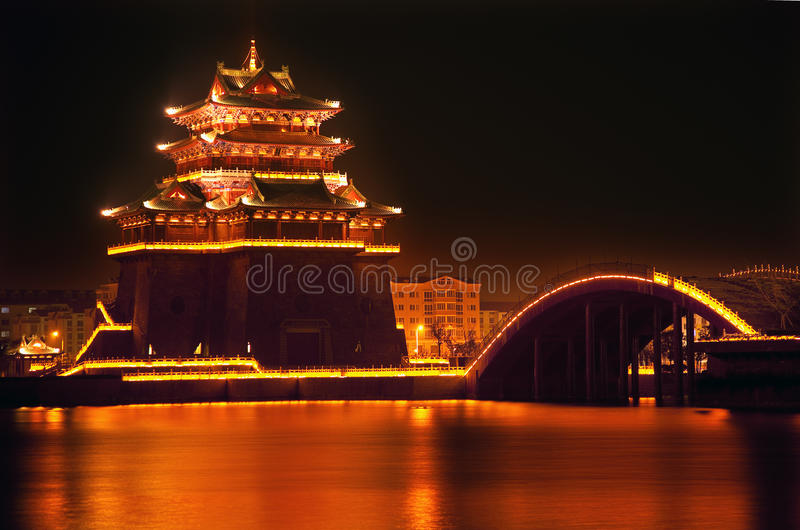 Het oude Meer het Kaifeng China van Jinming van de Nacht van de Tempel royalty-vrije stock fotografie