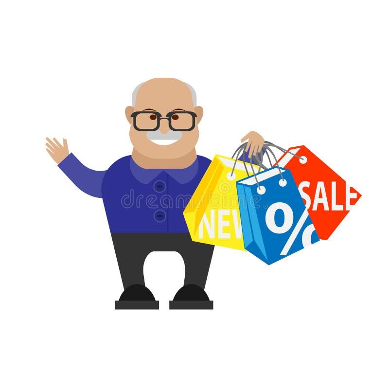 Het oude mens winkelen vector illustratie