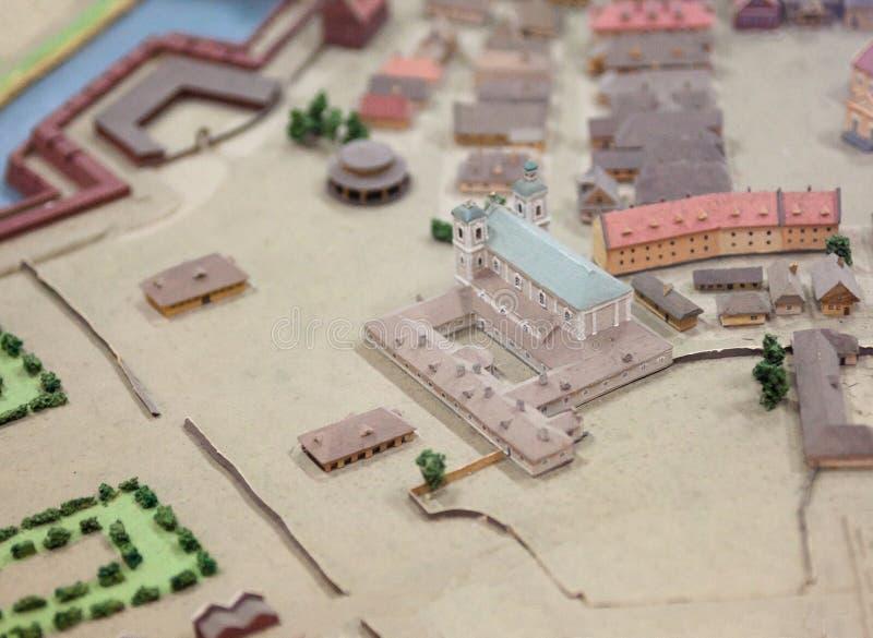 Het oude model van de stadsschaal stock foto