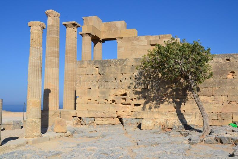 Het oude monument van Griekenland, Lindos, Rhodos stock foto