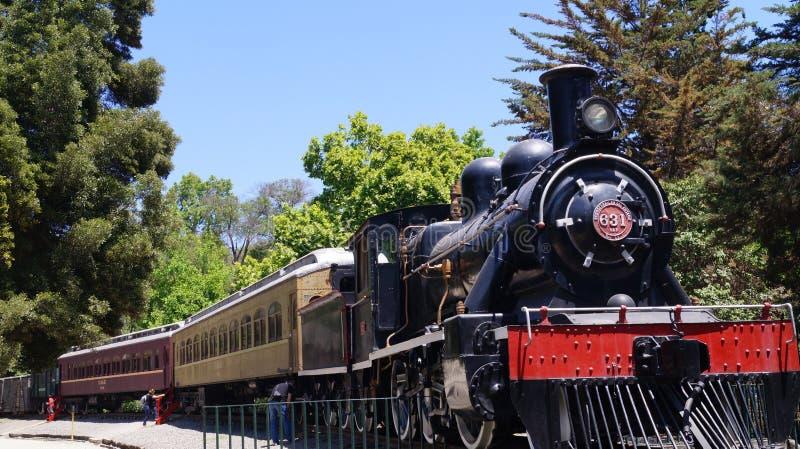 Het oude museum Quinta Normal van de treinspoorweg stock fotografie