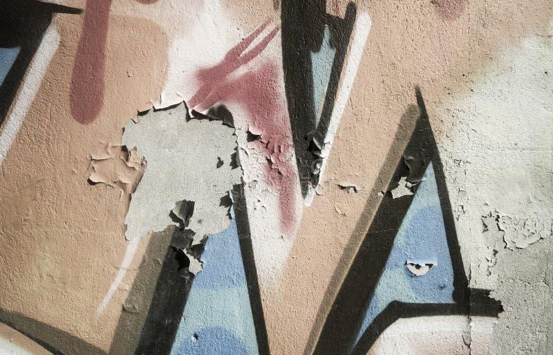 Het oude muurtextuur afschilferen verf langzaam verdwenen c stock fotografie