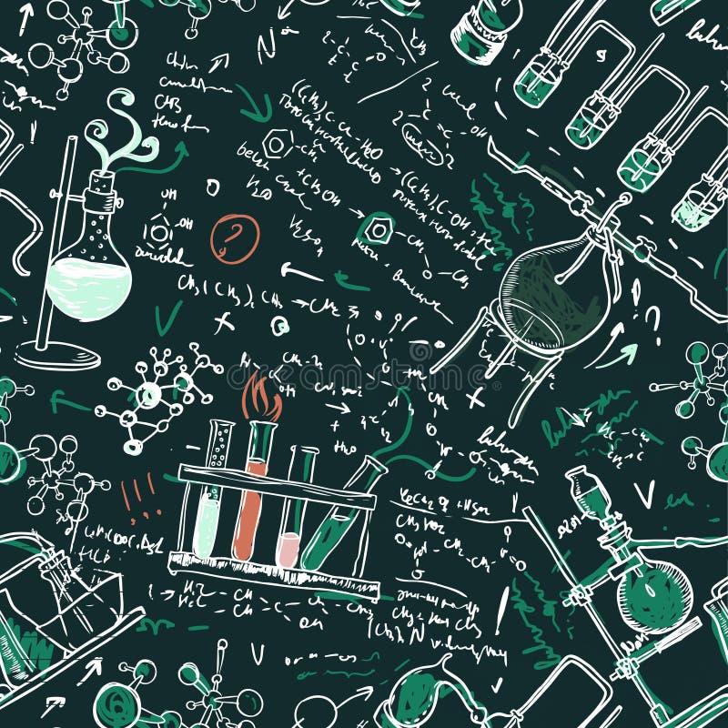 Het oude naadloze patroon van het chemielaboratorium stock illustratie
