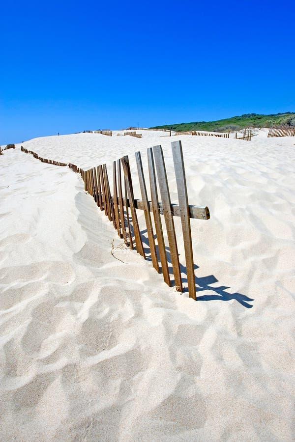 Het oude omheining plakken uit verlaten zandige strandduinen stock fotografie