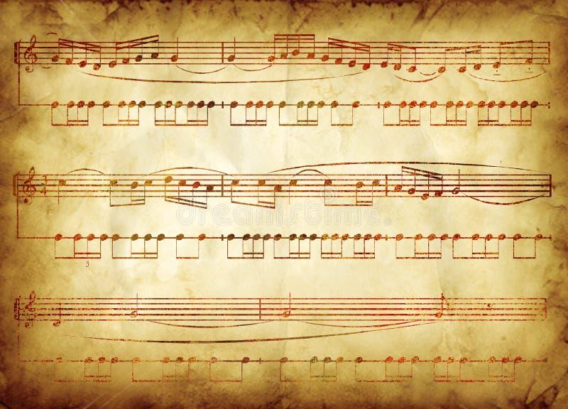 Het oude ontwerp van de muzieknota stock illustratie
