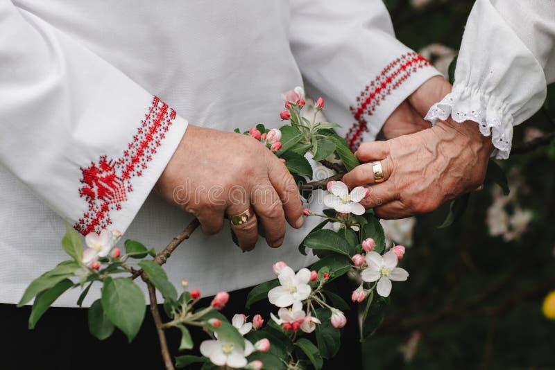 Het oude paar houdt handen Sluit omhoog van hogere man en vrouwenholdingshanden en in openlucht het lopen royalty-vrije stock foto