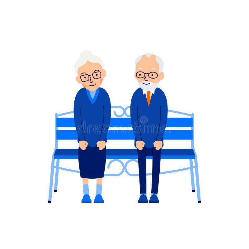 Het oude paar zit op bank Een bejaarde zit op bank en smilin royalty-vrije illustratie