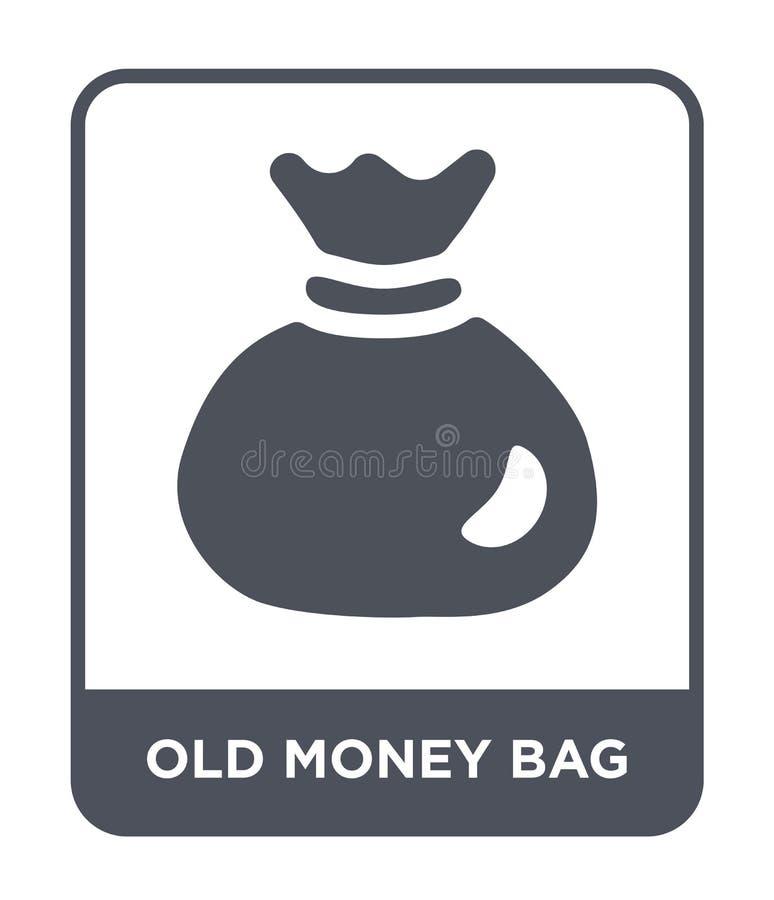 het oude pictogram van de geldzak in in ontwerpstijl het oude die pictogram van de geldzak op witte achtergrond wordt geïsoleerd  vector illustratie
