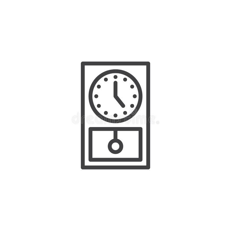 Het oude pictogram van de kloklijn vector illustratie